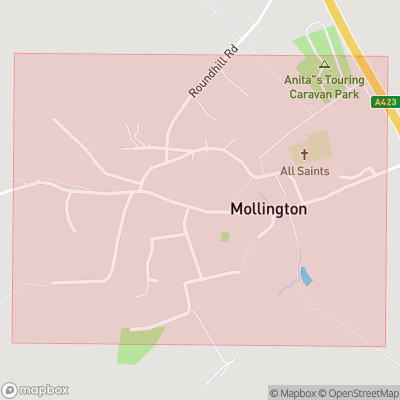 Map showing extent of Mollington as bounding box