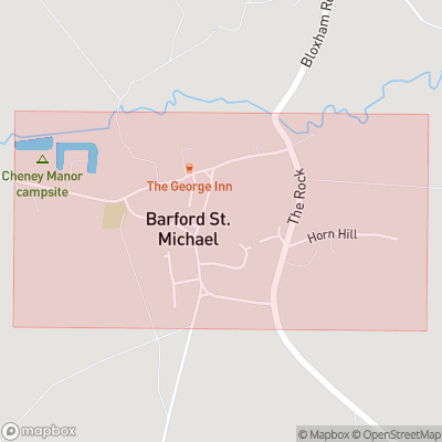 Map showing extent of Barford St Michael as bounding box