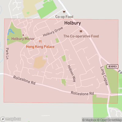 Map showing extent of Holbury as bounding box