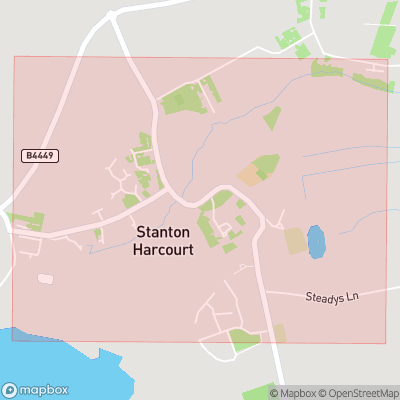 Map showing extent of Stanton Harcourt as bounding box