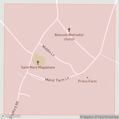Map showing extent of Balscote as bounding box
