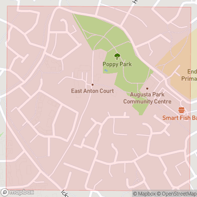 Map showing extent of East Anton as bounding box