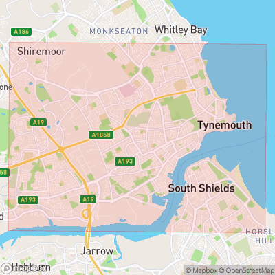 Map showing extent of Tynemouth as bounding box