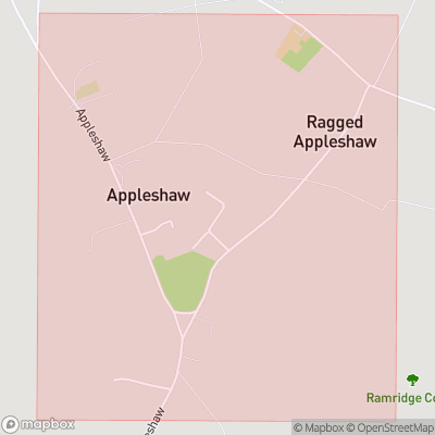 Map showing extent of Appleshaw as bounding box