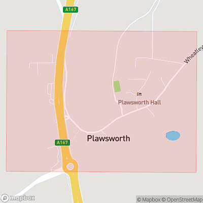 Map showing extent of Plawsworth as bounding box