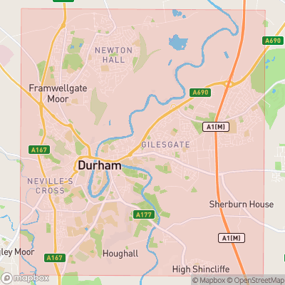 Map showing extent of Durham as bounding box