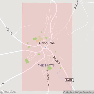 Map showing extent of Aldbourne as bounding box