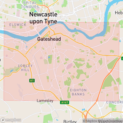 Map showing extent of Gateshead as bounding box
