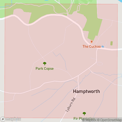 Map showing extent of Hamptworth as bounding box