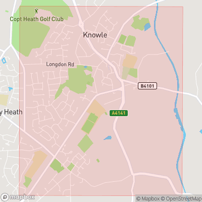 Map showing extent of Knowle as bounding box