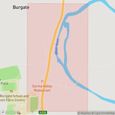 Map showing extent of Lower Burgate as bounding box