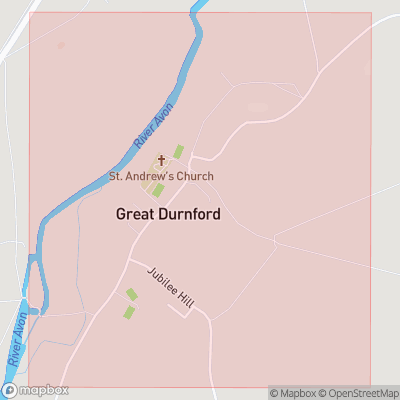 Map showing extent of Great Durnford as bounding box