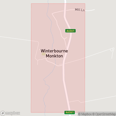 Map showing extent of Winterbourne Monkton as bounding box