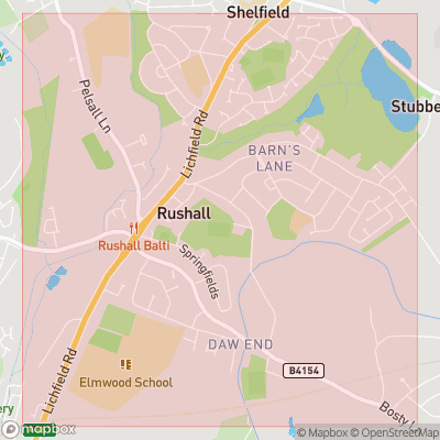 Map showing extent of Rushall as bounding box