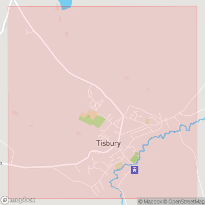 Map showing extent of Tisbury as bounding box