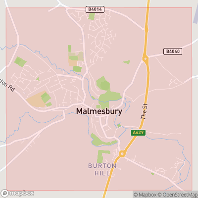 Map showing extent of Malmesbury as bounding box