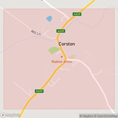 Map showing extent of Corston as bounding box
