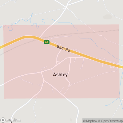Map showing extent of Ashley as bounding box