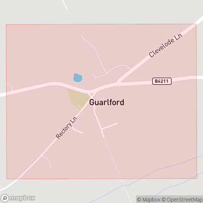 Map showing extent of Guarlford as bounding box