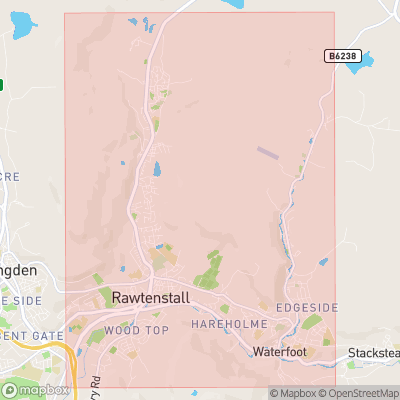 Map showing extent of Rawtenstall as bounding box