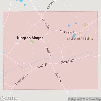 Map showing extent of Kington Magna as bounding box