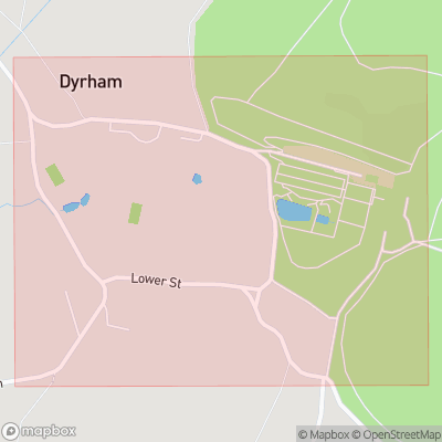 Map showing extent of Dyrham as bounding box