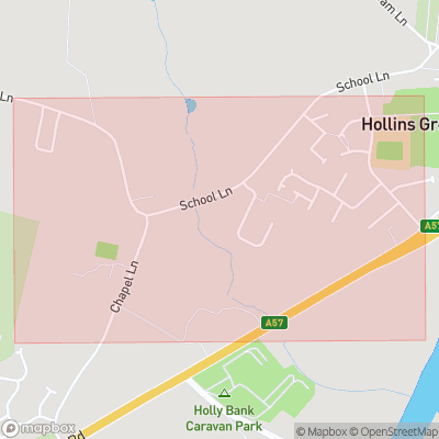 Map showing extent of Hollins Green as bounding box