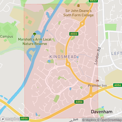 Map showing extent of Kingsmead as bounding box