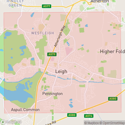 Map showing extent of Leigh as bounding box