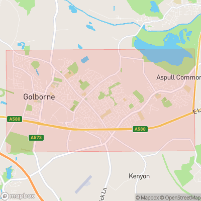 Map showing extent of Golborne as bounding box