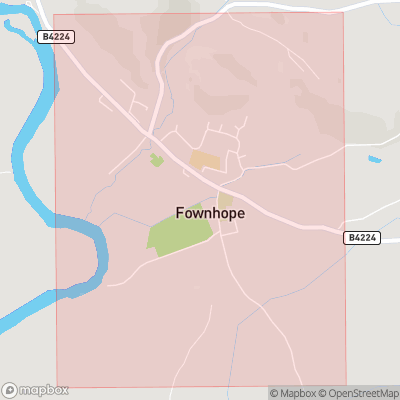 Map showing extent of Fownhope as bounding box