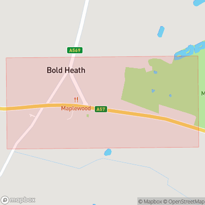 Map showing extent of Bold Heath as bounding box