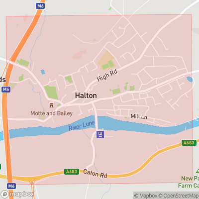 Map showing extent of Halton as bounding box