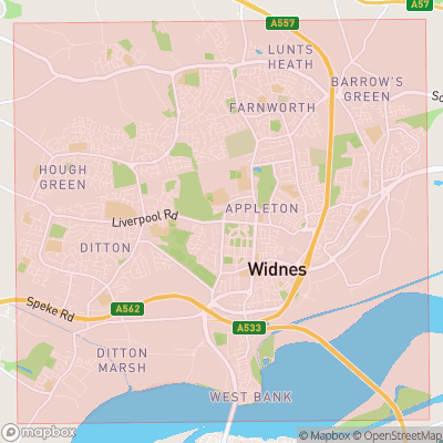 Map showing extent of Widnes as bounding box