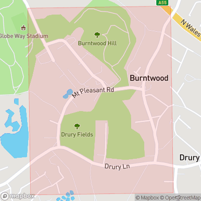 Map showing extent of Burntwood Pentre as bounding box