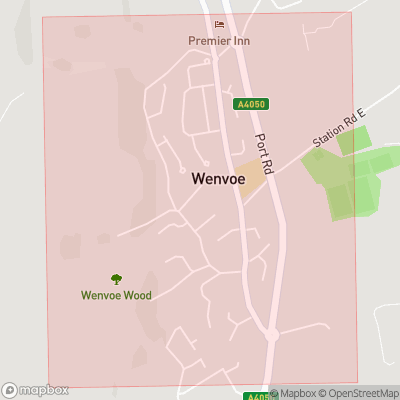 Map showing extent of Wenvoe as bounding box