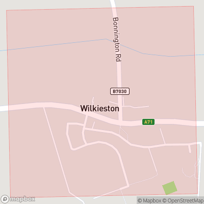 Map showing extent of Wilkieston as bounding box
