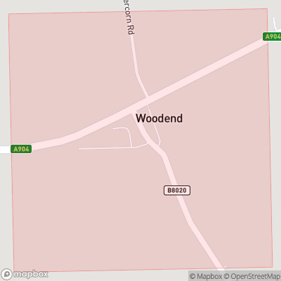 Map showing extent of Woodend as bounding box