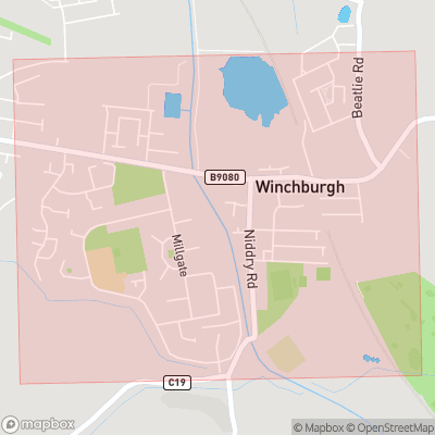 Map showing extent of Winchburgh as bounding box