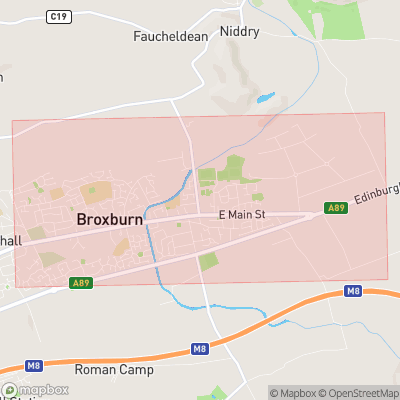 Map showing extent of Broxburn as bounding box