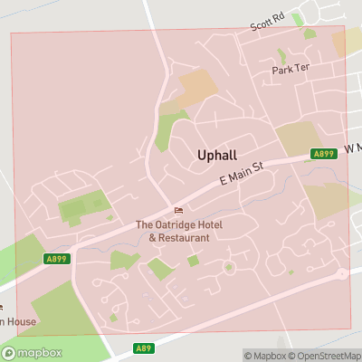 Map showing extent of Uphall as bounding box