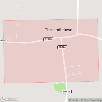 Map showing extent of Threemiletown as bounding box