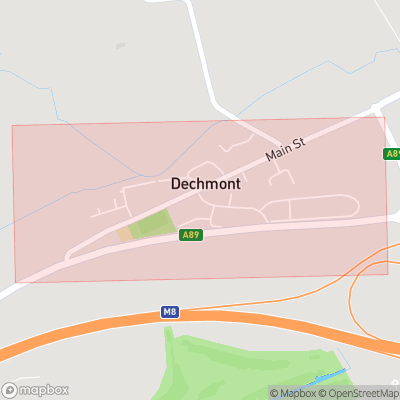 Map showing extent of Dechmont as bounding box
