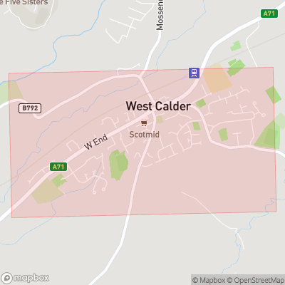 Map showing extent of West Calder as bounding box