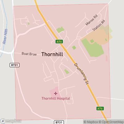 Map showing extent of Thornhill as bounding box