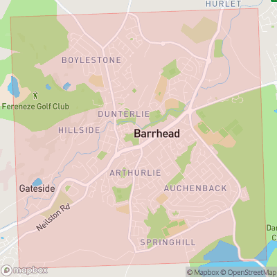 Map showing extent of Barrhead as bounding box