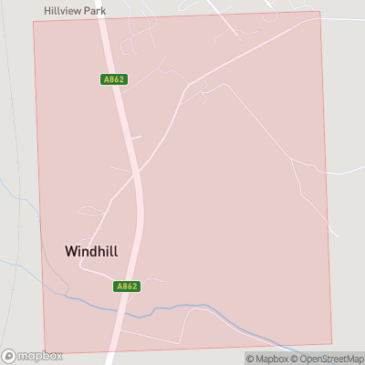 Map showing extent of Windhill as bounding box