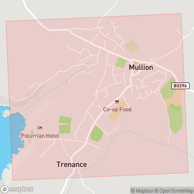 Map showing extent of Mullion as bounding box
