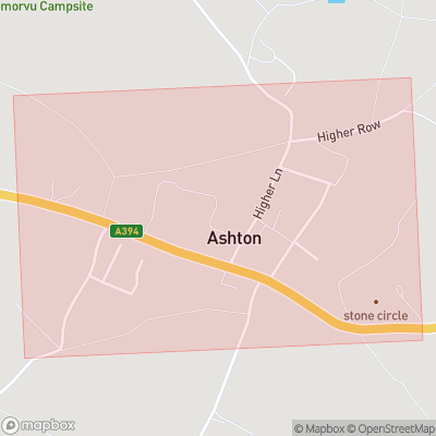 Map showing extent of Ashton as bounding box