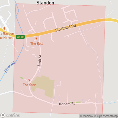 Map showing extent of Standon as bounding box